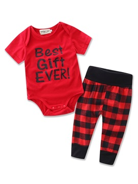 Comfort Lettered Bodysuit Plaid Pant