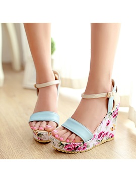 Pu Floral Line Style Buckle Hollow Womens Wedge Sandals