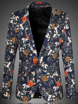 Big Size Floral Single Button Mens Blazer