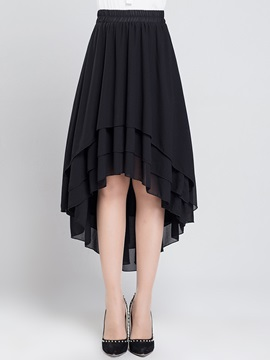 High Waist Chiffon Asymmetrical Pleated Skirt