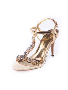 Shining Pu T Shaped Buckle Rhinestone Womens Heel Sandals