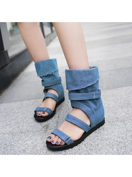 Denim Buckle Open Toe Hidden Elevator Womens Sandals