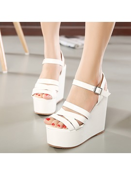 Pu Line Style Buckle Strappy Womens Wedge Sandals