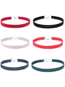 Pure Color Velvet Six Pieces Thin Choker Necklace