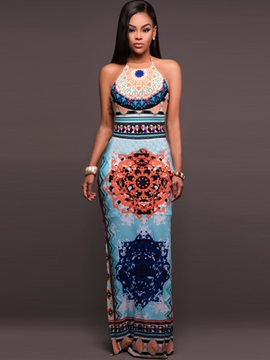Women Floreal Print Backless Beach Maxi Dress