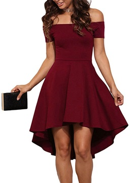 Women Off Shoulder High Low Day Dress