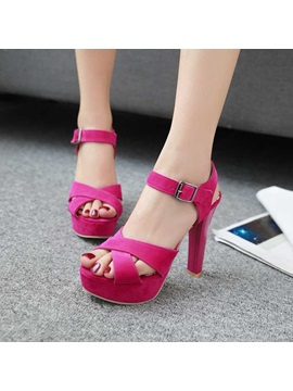 Stylish Suede Line Style Buckle Womens Sandals