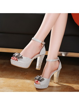 Glitter Line Style Buckle Heel Covering Womens Sandals