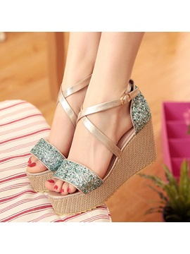 Glitter Buckle Platform Open Toe Womens Sandals