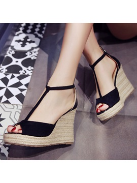 Pu Zipper T Shaped Buckle Womens Wedge Sandals