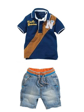 Casual Lettered T Shirt Denim Shorts