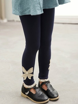 Cotton Lace Trim Bowknot Skinny Fit Girls Leggings