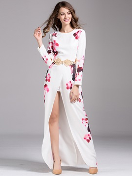 Flower Print Long Sleeve Split Womens Maxi Dress