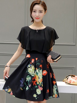 Nice Floral Imprint Round Neck Skater Dress