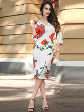 Floral Imprint V Neck Bodycon Dress