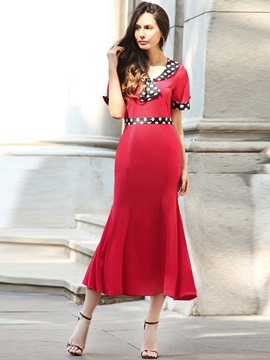 Round Neck Short Sleeve Maxi Dress