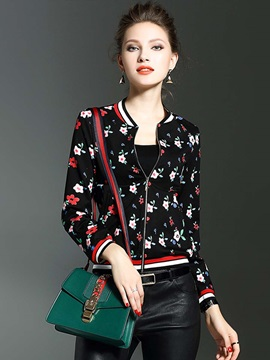Stylish Floral Print Thin Jacket