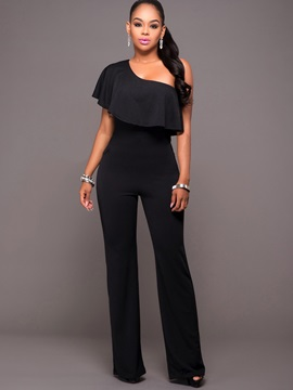 Plain Polyester Wide Legs Asymmetric Jumpsuits