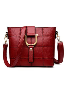 Korean Style Embroider Line Grid Pu Womens Satchel