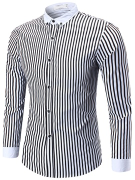 Stripe Regular Slim Mens Lapel Shirt