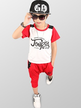 Color Block Letter T Shirt Casual Pants 2 Pcs Summer Boys Suit
