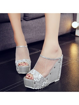 Mesh Slip On Hollow Platform Womens Wedge Sandals