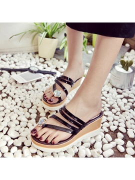 Pu Slip On Toe Ring Rhinestone Shining Womens Sandals