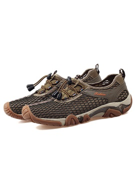 Mesh Elastic Plain Lace Up Mens Hiking Shoes