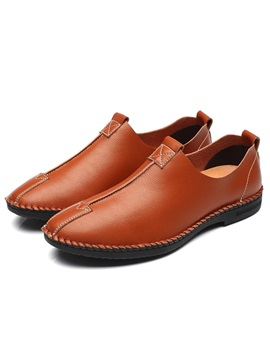 Pu Plain Slip On Round Toe Chic Mens Casual Shoes