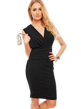 Black V Neck Sleeve Bodycon Dress