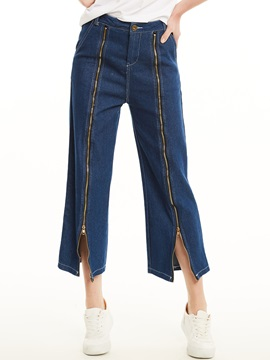Plain Zipper Wide Legs Womens Jeans