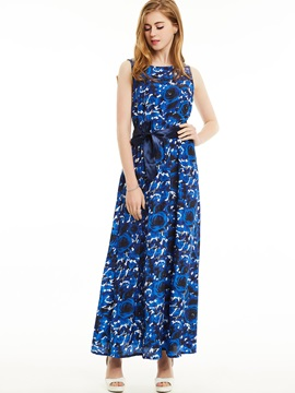 Backless Flower Print Maxi Dress