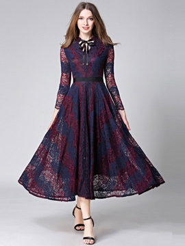 Vogue Long Sleeve Lace Maxi Dress