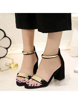 Pu Zipper Black And Gray Open Toe Womens Sandals