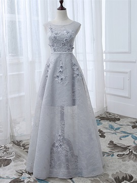 Elegant A Line Appliques Scoop Appliques Beading Sequins Floor Length Evening Dress
