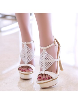 Pu T Shaped Buckle Platform Rhinestone Womens Heel Sandals