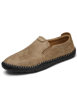 Pu Plain Slip On Thread Round Toe Mens Shoes