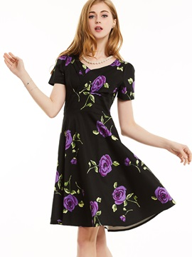 Floral Imprint Short Sleeve Skater Dress