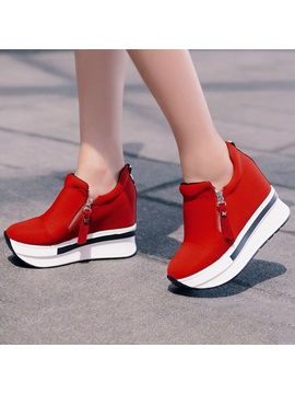 Round Toe Side Zipper Cloth Western Platform Womens Sneakers