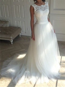 Fair Straps Lace Top Beach Wedding Dress