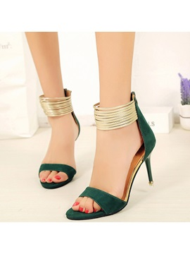 Suede Zipper Stiletto Heel Womens Simple Sandals