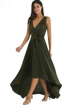 Army Green Sleeveless V Neck Dress