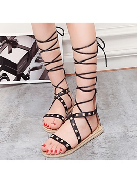 Pu Lace Up Rivets Strappy Heel Covering Womens Sandals