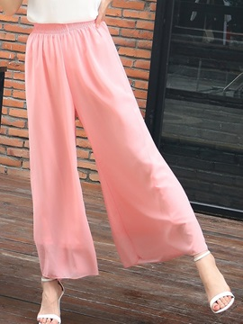 High Waist Plain Loose Chiffon Wide Legs Elastics Casual Pants