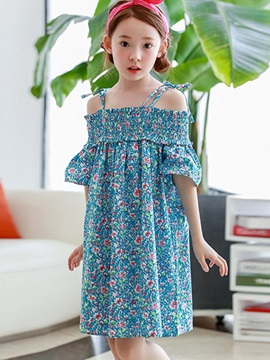 Floral Spaghetti Strap Slash Neck Girls Dress