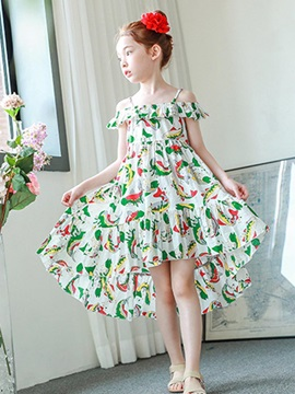 Bohemian Style Slash Neck High Low Hem Girls Dress