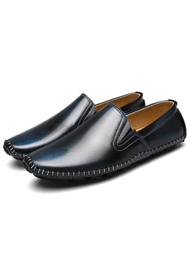 Patent Leather Slip On Round Toe Mens Casual Shoes