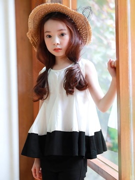 Color Block Pleated Frill Girls T Shirt