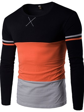 Slim Straight Patchwork Mens Leisure T Shirt