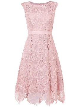 Pink Round Neck Sleeveless Lace Dress